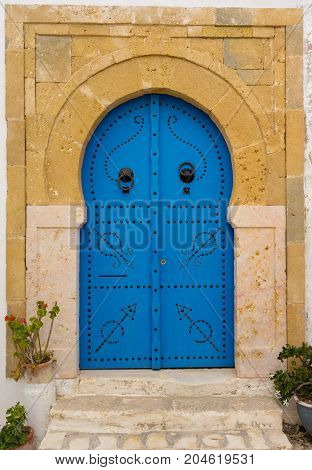 Old Blue Door With Arch From Tunisia