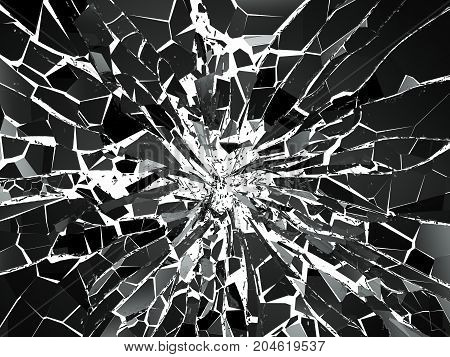 Shattered Or Demolished Glass Over White Background