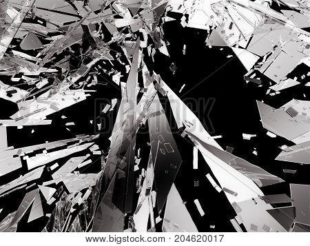 Shattered Glass Over Black Background