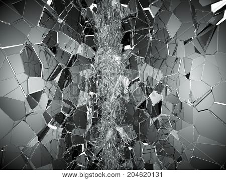 Shattered Or Demolished Glass Over White