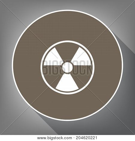 Radiation Round sign. Vector. White icon on brown circle with white contour and long shadow at gray background. Like top view on postament.