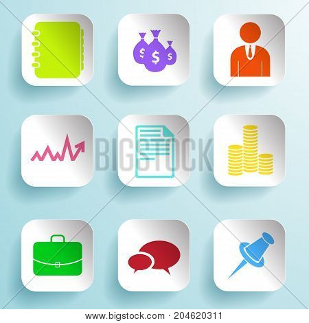 Business colorful icons set on paper squares and light blue background isolated vector illustration