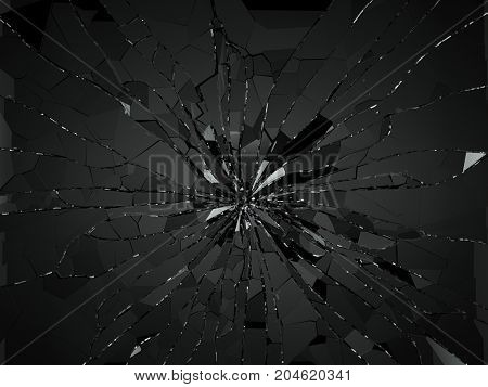 Damaged Or Broken Glass On Black