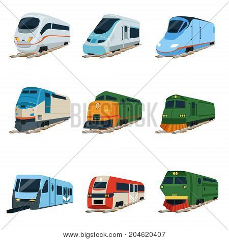 Retro and modern trains locomotive set, railway carriage vector Illustrations on a white background