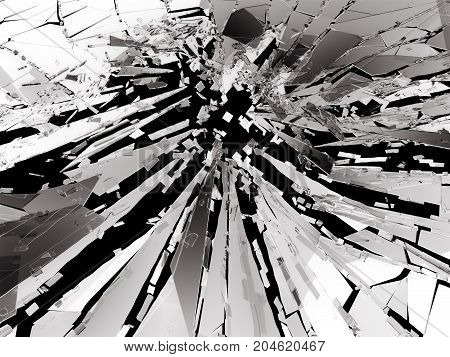 Shattered Or Broken Glass Pieces On Black