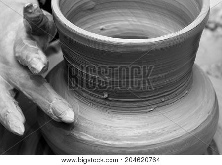 Process Of Making Crockery On A Potter's Wheel