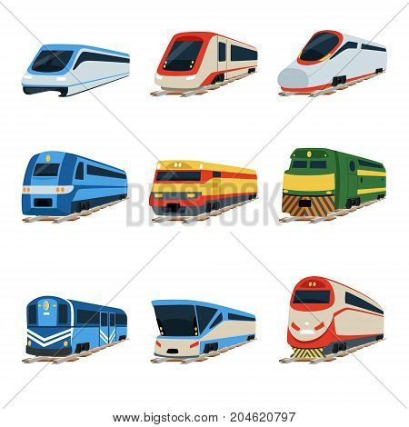 Train locomotive set, railway carriage vector Illustrations on a white background