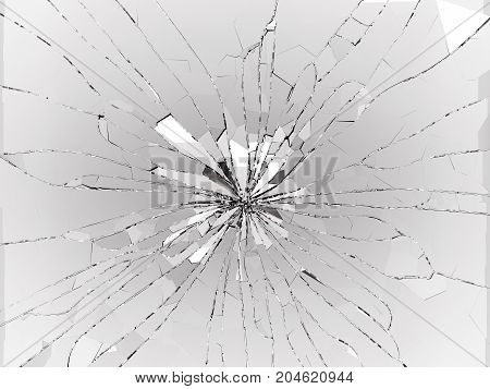 Bullet Hole Cracked And Shattered Glass On Black