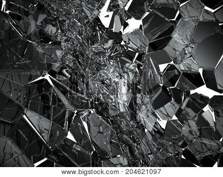 Pieces Of Broken Or Cracked Glass On White