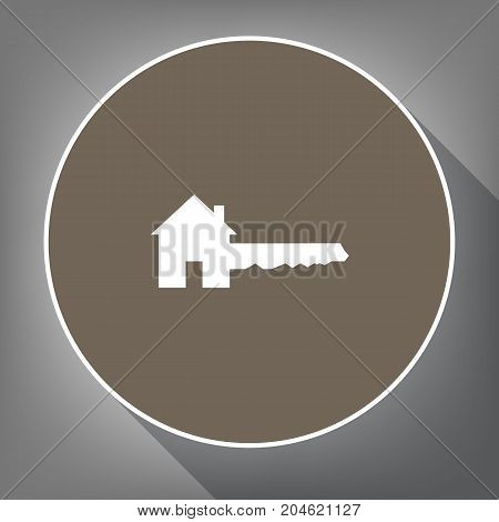 Home Key sign. Vector. White icon on brown circle with white contour and long shadow at gray background. Like top view on postament.