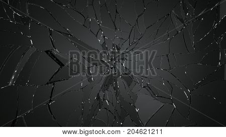 Pieces Of Splitted Or Cracked Glass On Black