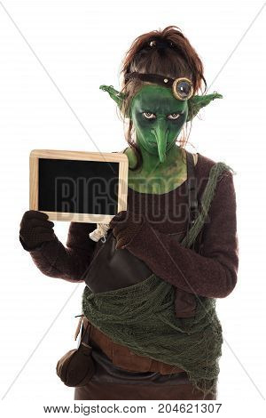 Angy Green Goblin Holding A Slate With Copyspace