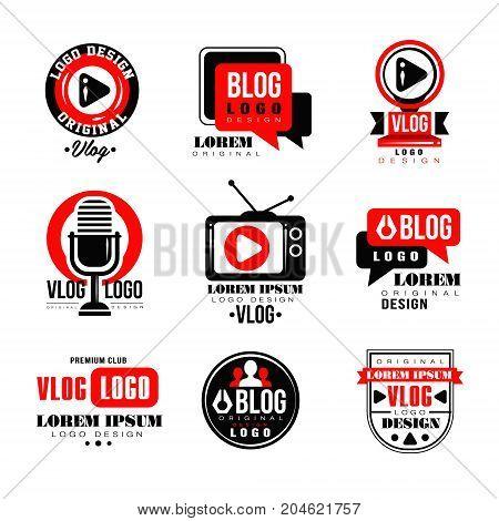 Vlog and blog logo design set, video blogging badges vector Illustrations on a white background