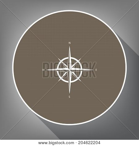 Wind rose sign. Vector. White icon on brown circle with white contour and long shadow at gray background. Like top view on postament.