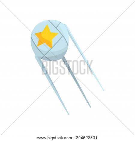 Artificial Earth satellite cartoon vector Illustration on a white background