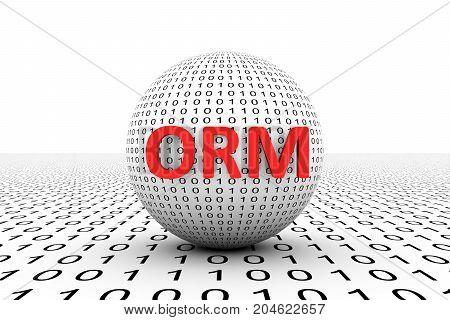 ORM conceptual sphere binary code 3d illustration