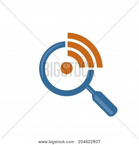 magnifying glass, CEO online, web search and find or zoom logotype concept