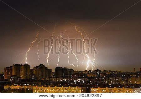 Lightning Thunderstorm Storm Over The City At Night