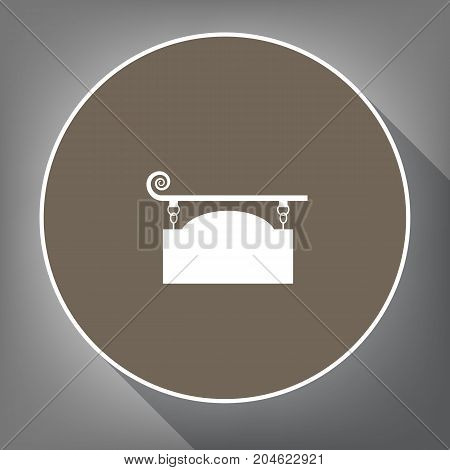 Wrought iron sign for old-fashioned design. Vector. White icon on brown circle with white contour and long shadow at gray background. Like top view on postament.