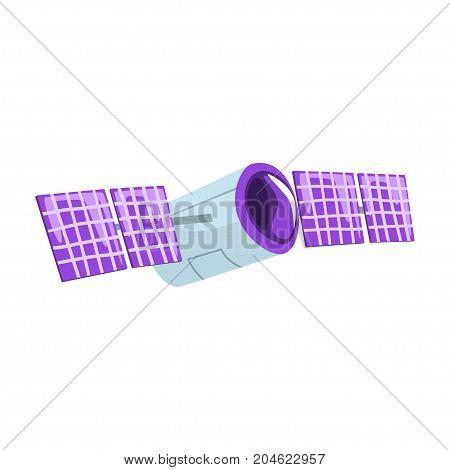 Telecommunication satellite cartoon vector Illustration on a white background