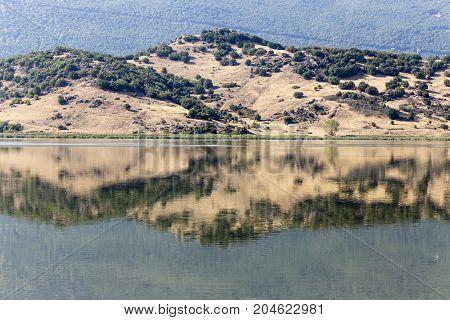 Panoramic view of the natural lake Zazari (northwest Greece, Macedonia)