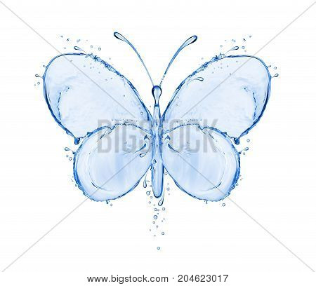 Butterfly made of water splashes isolated on white