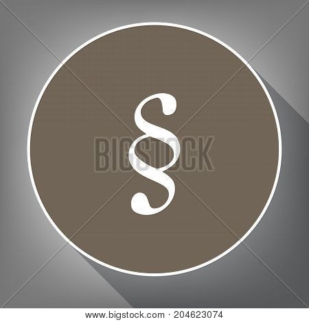 Paragraph sign illustration. Vector. White icon on brown circle with white contour and long shadow at gray background. Like top view on postament.