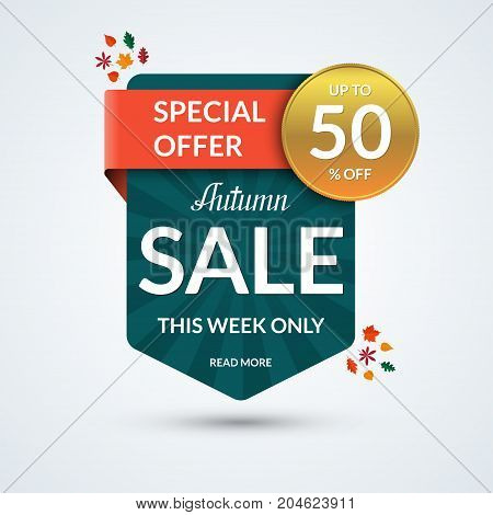 Autumn sale and special offer banner. Discount vector template. Up to 50 percent off badge or tag. Half price colorful sticker. Shopping background