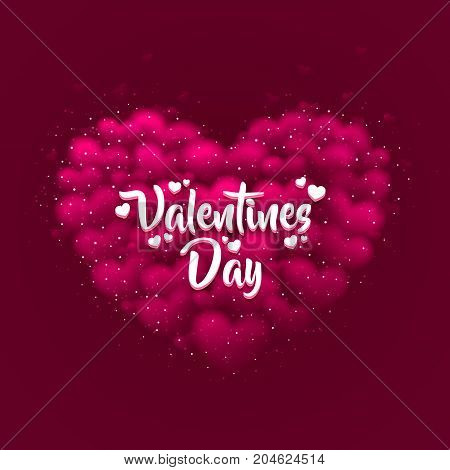 Happy Valentines Day greeting postcard. A pink heart made of small hearts with a white title on it. Vector illustration.