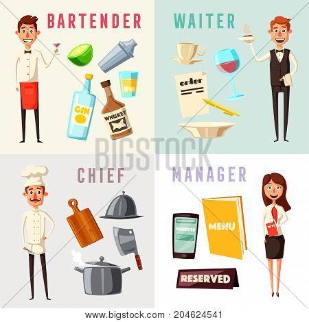Restaurant team. Cartoon vector illustration. Chef, bartender, manager and waiter. Crew of professionals