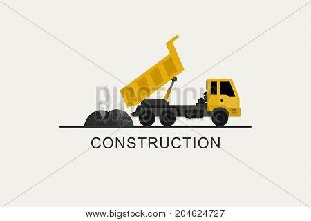 Construction truck unloads asphalt. Construction machinery in flat style.