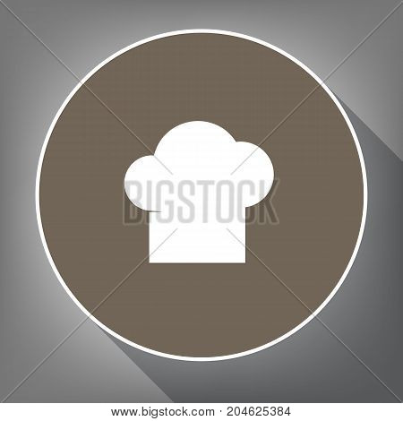 Chef cap sign. Vector. White icon on brown circle with white contour and long shadow at gray background. Like top view on postament.