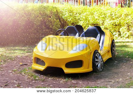 Yellow Car For Kids, Carousel And Entertainment In The Park