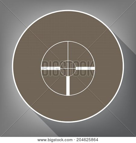 Sight sign illustration. Vector. White icon on brown circle with white contour and long shadow at gray background. Like top view on postament.