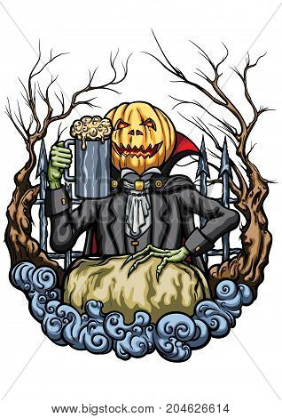 Illustration an emblem with Pumpkin Head Jack cheering with mug of beer