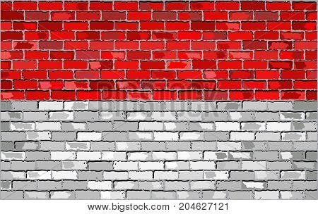 Flag of Indonesia on a brick wall - Illustration
