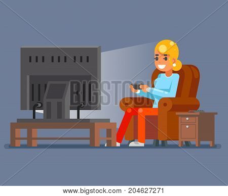 Gamer Young Girl Watching TV Playing Game Sit Armchair Cartoon Character Flat Vector Design Illustration