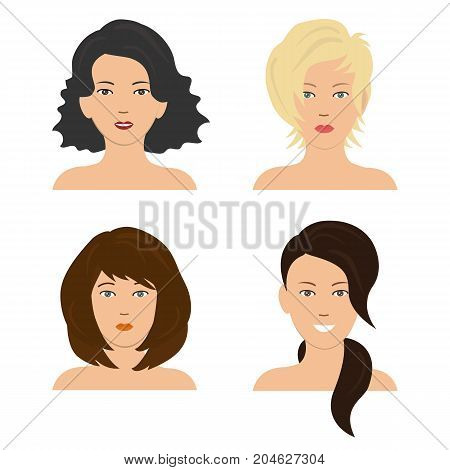 Set of woman hair styling. Four different images of girls. It can be used for the websites and forums. Vector illustration.