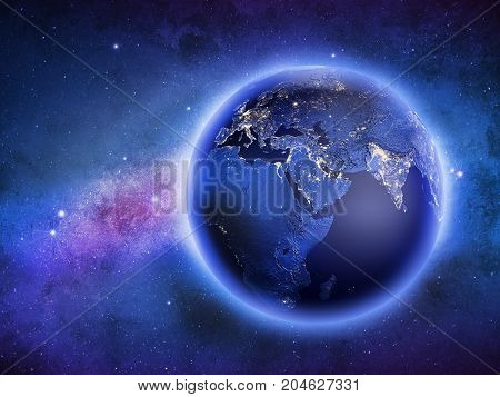 Planet Earth in galaxy stars. Elements of this image furnished by NASA. 3D rendering. Stars and space my own astrophoto