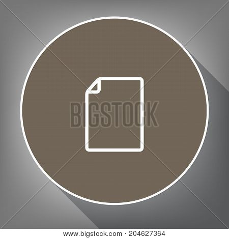 Vertical document sign illustration. Vector. White icon on brown circle with white contour and long shadow at gray background. Like top view on postament.