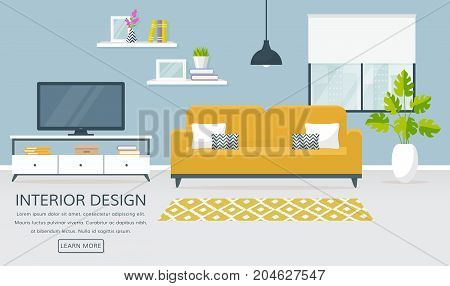 Interior of the living room. Vector banner with place for text. Design of a cozy room with sofa TV stand window and decor accessories.