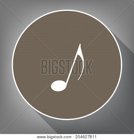 Music note sign. Vector. White icon on brown circle with white contour and long shadow at gray background. Like top view on postament.