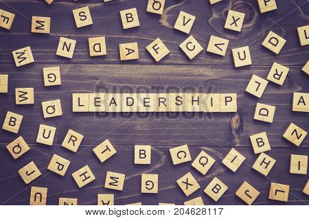 Leadership Word Wood Block On Table For Business Concept.