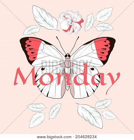 Monday Slogan with butterfly and rose. Vector patch for fashion apparels, t shirt, stickers, and printed tee design.