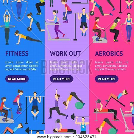 Cartoon People Workout Exercise in Gym Banner Vecrtical Set Body Training Flat Design Style. Vector illustration