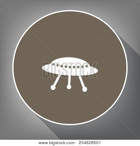 UFO simple sign. Vector. White icon on brown circle with white contour and long shadow at gray background. Like top view on postament.