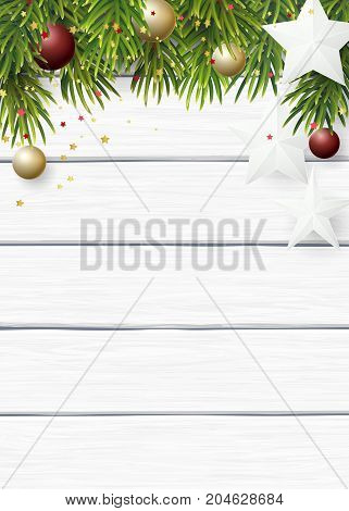 Vector Christmas background with green fir branches, white paper stars and cristmas balls on a white wooden background.