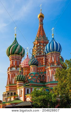 A view of Saint Basil's Cathedral in the morning Red Square Moscow Russia