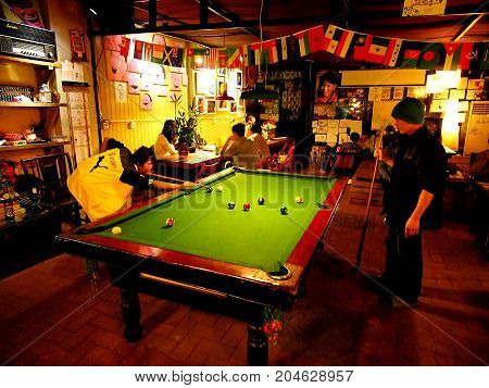 Hostel Life In Chengdu. Good Traveler Life. Snooker, Pool, Sit And Drink. Chengdu , Sichuan, China -