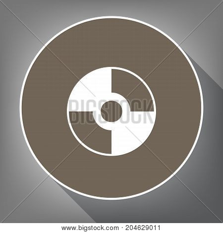 Vector CD or DVD sign. Vector. White icon on brown circle with white contour and long shadow at gray background. Like top view on postament.